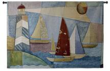 Bay Regatta | Woven Tapestry Wall Art Hanging | Coastal Lighthouse Seascape Pastel Paperwork Geometric Artwork | 100% Cotton USA Size 53x36 Wall Tapestry