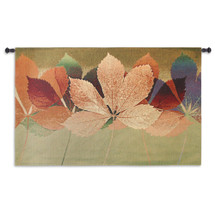 Leaf Dance Ii By Robert Mertens - Woven Tapestry Wall Art Hanging For Home Living Room & Office Decor - Colorful Light Warm Tones Of Blue And Green - 100% Cotton - USA 35X53 Wall Tapestry