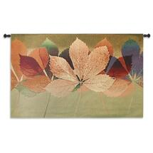 Leaf Dance Ii By Robert Mertens | Woven Tapestry Wall Art Hanging | Colorful Light Warm Tones Of Blue And Green | 100% Cotton USA 35X53 Wall Tapestry