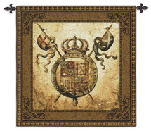 Terra Nova II by Liz Jardine | Woven Tapestry Wall Art Hanging | Old World Crest Regal Crown | 100% Cotton USA Size 44x44 Wall Tapestry