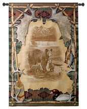 Antler Lodge   Woven Tapestry Wall Art Hanging   Mother Bear with Cubs Etching in Rustic Outdoors Themed Frame Cabin Decor   100% Cotton USA Size 53x35 Wall Tapestry