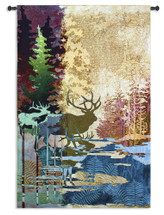 Ghosts of The Tall Timbers | Woven Tapestry Wall Art Hanging | Abstract Wall Tapestry Stag Wooded River forest Nature Deer Elk Lodge Hunting | 100% Cotton USA 83x53 Wall Tapestry