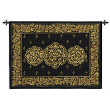 Black Medallion | Woven Tapestry Wall Art Hanging | Elegant Golden Floral Filigree on Black Scrolls Bohemian | 100% Cotton USA Size 53x40 Wall Tapestry