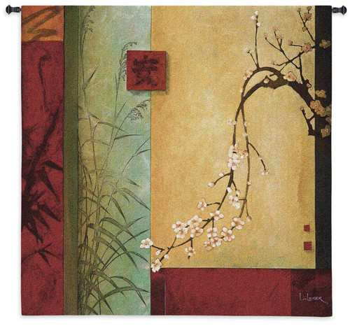 Spring Chorus By Don Li-Leger - Woven Tapestry Wall Art Hanging For Home Living Room & Office Decor - Contemporary Abstract Asian Fusion Artwork With Warm Earth Tones - 100% Cotton - USA Wall Tapestry