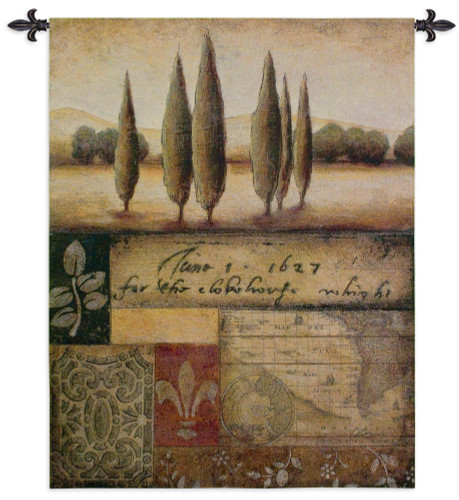 Renaissance Landscape I by Susan Osborne   Woven Tapestry Wall Art Hanging   Old World Themed Contemporary Landscape Map Collage   100% Cotton USA Size 53x44 Wall Tapestry