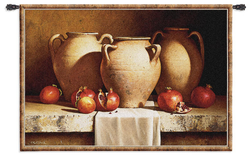 Urns with Pomegranates by Loran Speck | Woven Tapestry Wall Art Hanging | Three Clay Urns Ripe Pomegranate Rustic Still Life | 100% Cotton USA Size 77x53 Wall Tapestry