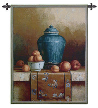 Ginger Jar | Woven Tapestry Wall Art Hanging | Vibrant Fruit and Vase Still Life on Stone | 100% Cotton USA Size 54x43 Wall Tapestry