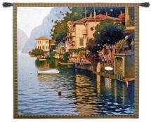 Reflejos en el Lago by Pedro Roldan | Woven Tapestry Wall Art Hanging | Venetian Italian Villa Mediterranean Seascape | 100% Cotton USA Size 55x49 Wall Tapestry