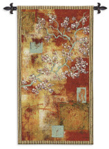 Damask Blossom by Laurel Lehman | Woven Tapestry Wall Art Hanging | Abstract Cherry Blossom Gold Leaf Tree | 100% Cotton USA Size 53x30 Wall Tapestry