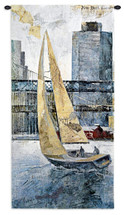 Sailing in the Afternoon by Borafull | Woven Tapestry Wall Art Hanging | Hudson River Sailboats with Bridges and New York City Skyline | 100% Cotton USA Size 53x26 Wall Tapestry