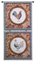 Plumage Ii - Woven Tapestry Wall Art Hanging -Roosters In Quadrants Floral Background Farm Animal Collectable- 100% Cotton - USA 52X26 Wall Tapestry