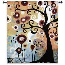 June Tree by Natasha Wescoat | Woven Tapestry Wall Art Hanging | Contemporary Tree of Life Botanical Pop Artwork | 100% Cotton USA Size 65x53 Wall Tapestry
