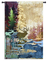 Ghosts of The Tall Timbers | Woven Tapestry Wall Art Hanging | Abstract Wall Tapestry Stag Wooded River forest Nature Deer Elk Lodge Hunting | 100% Cotton USA 52X36 Wall Tapestry