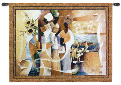 Euphony by Lee White | Woven Tapestry Wall Art Hanging | Majestic Abstract African Women Figurative Cultural Artwork | 100% Cotton USA Size 53x42 Wall Tapestry