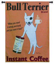 Bull Terrier by Ken Bailey | Woven Tapestry Wall Art Hanging | Whimsical Dog Themed Coffee Poster | 100% Cotton USA Size 53x39 Wall Tapestry
