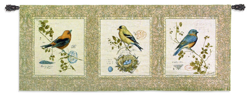 Songbirds by Chad Barrett | Woven Tapestry Wall Art Hanging | Vintage Colorful Birds Decorative Panel Artwork | 100% Cotton USA Size 65x26 Wall Tapestry