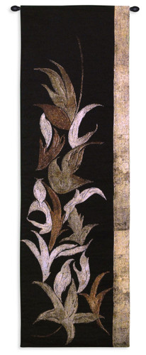 Black Shinwa I by Jennifer Perlmutter   Woven Tapestry Wall Art Hanging   Floral Mixed Media Asian Vertical Artwork   100% Cotton USA Size 53x18 Wall Tapestry