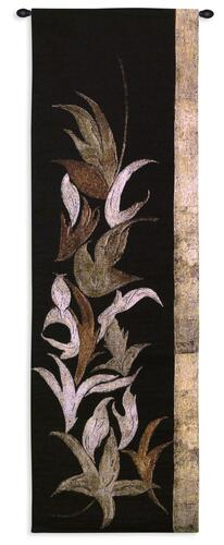 Black Shinwa I By Jennifer Perlmutter - Woven Tapestry Wall Art Hanging For Home Living Room & Office Decor - Floral Mixed Media Asian Style Leaf Pattern Vertical Artwork  - 100% Cotton - USA 53X18 Wall Tapestry