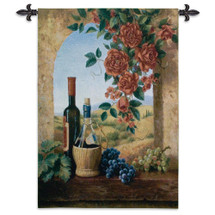 Patio View By Digiacomo - Woven Tapestry Wall Art Hanging For Home Living Room & Office Decor - Wine Still Life Wine Roses Tuscan Village Themed - 100% Cotton - USA 53X38 Wall Tapestry