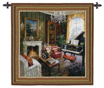 Grand Piano Room | Woven Tapestry Wall Art Hanging | Regal Grand Piano Room with Fireplace | 100% Cotton USA Size 53x53 Wall Tapestry