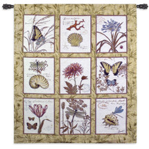 Nature's Curiosities by Chad Barrett | Woven Tapestry Wall Art Hanging | Lovely Antique Insect and Nature Study Nine Panel Design | 100% Cotton USA Size 62x53 Wall Tapestry