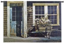 Weathered Post By Zhen-Huan Lu | Woven Tapestry Wall Art Hanging | Rustic Wheelbarrow with Potted Flowers at Cottage House | 100% Cotton USA Size 53x38 Wall Tapestry