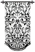 Arabella by Laurie Maitland | Woven Tapestry Wall Art Hanging | Black and White Floral Filigree Design | 100% Cotton USA Size 68x35 Wall Tapestry