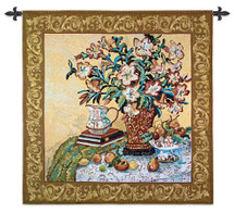 Asian Lilies | Woven Tapestry Wall Art Hanging | Bold Vibrant Floral Bouquet with Fruit Still Life | 100% Cotton USA Size 53x53 Wall Tapestry