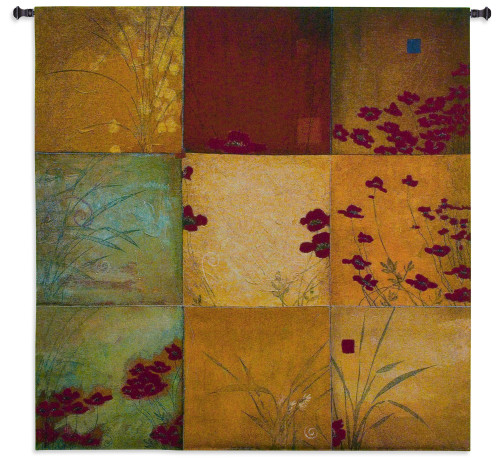 Poppy Nine Patch by Don Li-Leger | Woven Tapestry Wall Art Hanging | Abstract Asian Nature Collage Panels | 100% Cotton USA Size 44x44 Wall Tapestry
