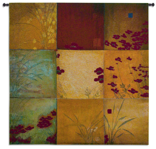 Poppy Nine Patch by Don Li-Leger | Woven Tapestry Wall Art Hanging | Abstract Asian Nature Collage Panels | 100% Cotton USA Size 53x53 Wall Tapestry