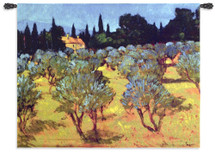 Les Olives Printemps by Philip Craig   Woven Tapestry Wall Art Hanging   Olive Tree Orchard Landscape with Lone Cottage   100% Cotton USA Size 53x42 Wall Tapestry