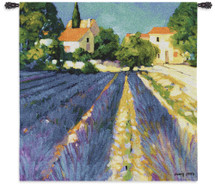 Lavender Field | Woven Tapestry Wall Art Hanging | Impressionist Floral Villa in Large Brush Strokes | 100% Cotton USA Size 53x53 Wall Tapestry