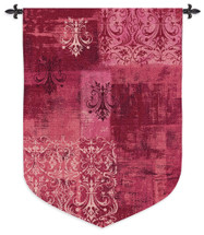 Abstract Damask Wine | Woven Tapestry Wall Art Hanging | Chandelier Silhouettes on Ornate Pattern | 100% Cotton USA Size 63x43 Wall Tapestry
