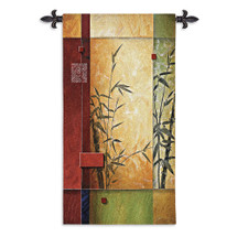 Garden Dance I By Don Li-Leger - Woven Tapestry Wall Art Hanging - Asian Fusion Abstract Eastern Calligraphy Geometric Bamboos Orchid Themed Artwork - 100% Cotton - USA 53X26 Wall Tapestry