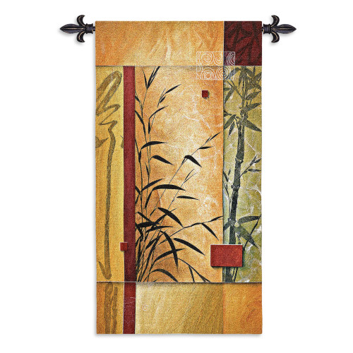 Garden Dance II by Don Li-Leger   Woven Tapestry Wall Art Hanging   Asian Fusion Abstract Geometric Bamboo Patterns   100% Cotton USA Size 53x26 Wall Tapestry