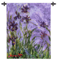 Irises Monet - Woven Tapestry Wall Art Hanging - Classic Impressionist Masterpiece Of Purple Irises And Lavender Backdrop Of Color Waves - 100% Cotton - USA 44X38 Wall Tapestry