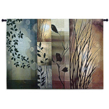 Autumnal Equinox By Edward Aparicio - Woven Tapestry Wall Art Hanging - Tranquility Plants Silhouetted With Warm Earth Tones - 100% Cotton - USA 40X53 Wall Tapestry