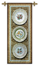 Classic Porcelain - Woven Tapestry Wall Art Hanging For Home Living Room & Office Decor - China Plates Asian Three Blaise Pascal - 100% Cotton - USA 60X26 Wall Tapestry