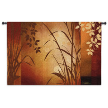 Flaxen Silhouette By Edward Aparicio - Woven Tapestry Wall Art Hanging For Home Living Room & Office Decor - Nature Subtle Asian Aesthetic Aesthetic Artwork Warm Color Tones - 100% Cotton - USA 36X53 Wall Tapestry