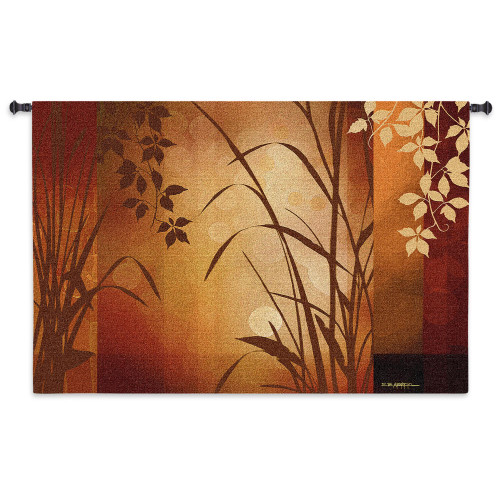 Flaxen Silhouette by Edward Aparicio | Woven Tapestry Wall Art Hanging | Asian Warm Tones Ensemble | 100% Cotton USA Size 53x36 Wall Tapestry