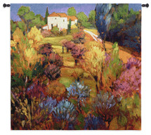 Spring Orchard by Philip Craig | Woven Tapestry Wall Art Hanging | Vibrant Hillside Landscape with House | 100% Cotton USA Size 53x49 Wall Tapestry