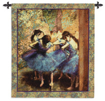 Dancers in Blue by Edgar Degas | Woven Tapestry Wall Art Hanging | Pastel Ballet Dancers Impressionist Artwork | 100% Cotton USA Size 53x45 Wall Tapestry