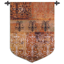 Abstract Damask Persimmon | Woven Tapestry Wall Art Hanging | Chandelier Silhouettes on Ornate Pattern | 100% Cotton USA Size 63x43 Wall Tapestry