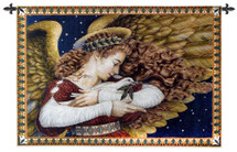 Angel and Dove by Lynn Bywaters | Woven Tapestry Wall Art Hanging | Celestial Christian Religious Illustration | 100% Cotton USA Size 53x37 Wall Tapestry