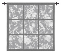 Floral Division Gray | Woven Tapestry Wall Art Hanging | Nine Panel Textile Artwork With An Asian Tropical Birds In Silhouette 100% Cotton USA Wall Tapestry