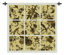Floral Division Gold | Woven Tapestry Wall Art Hanging | Silhouetted Tropical Birds and Plants Panel Artwork | 100% Cotton USA Size 53x53 Wall Tapestry