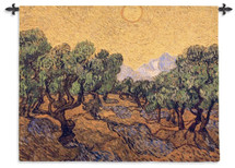 Olive Trees with Yellow Sky and Sun by Vincent van Gogh | Woven Tapestry Wall Art Hanging | Wild Olive Trees in Bright Sun | 100% Cotton USA Size 53x40 Wall Tapestry