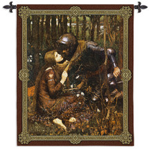 La Belle Dame Sans Merci Waterhouse By John William Waterhouse - Woven Tapestry Wall Art Hanging For Home Living Room & Office Decor - Renaissance Fantasy Medieval Knight & Lady  - 100% Cotton - USA Wall Tapestry