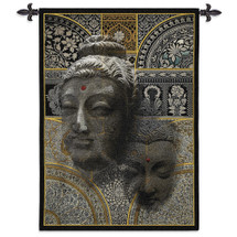 Buddha Essence | Woven Tapestry Wall Art Hanging | Indian Inspired Collage with Complex Geometric Patterns | 100% Cotton USA Size 53x37 Wall Tapestry