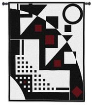 Night on the Town | Woven Tapestry Wall Art Hanging | Bold Black and White Geometry with Popping Reds | 100% Cotton USA Size 53x42 Wall Tapestry
